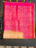 Women's Banaras Soft Silk Saree (Peach)