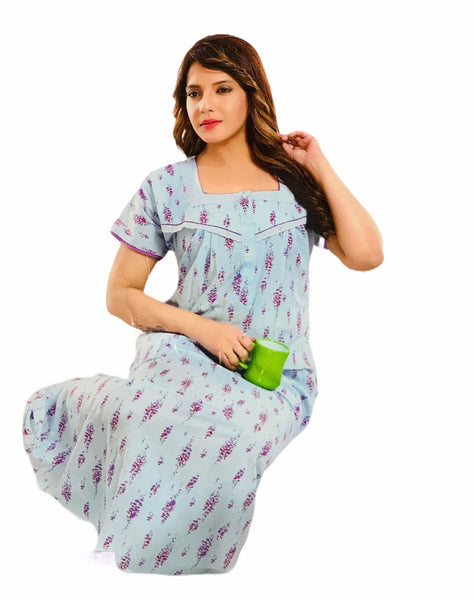 Women's Cotton printed Nighty, Free Size - N17