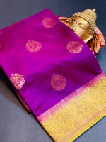 Women's Banaras Soft Silk Saree (Purple)