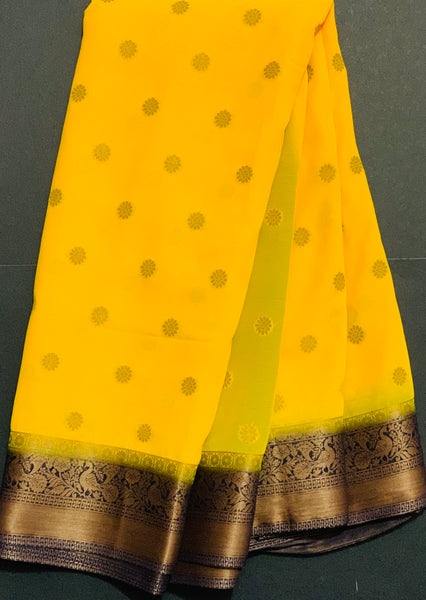 Women's Banaras Chiffon  Saree (Yellow)