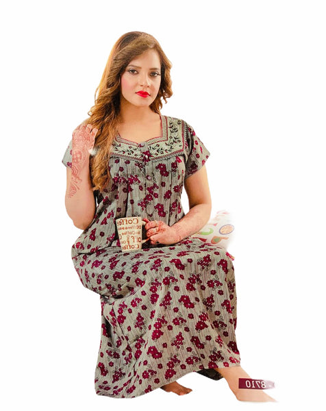 Women's Cotton printed Nighty, Free Size - N22