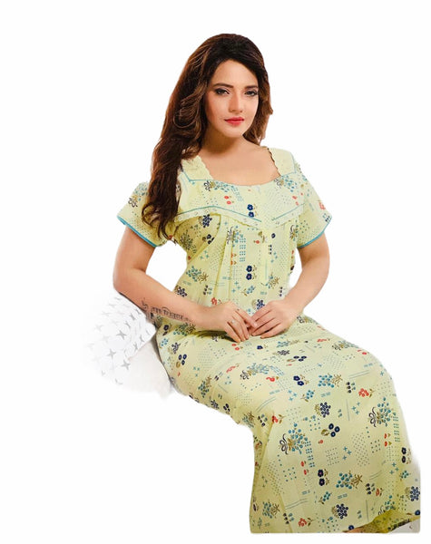 Women's Cotton printed Nighty, Free Size - N14