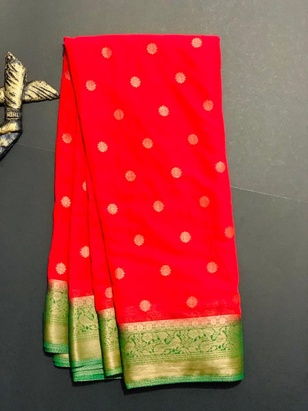Women's Banaras Chiffon  Saree (Red)