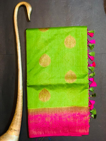Women's Banaras Soft Silk Saree (Green)