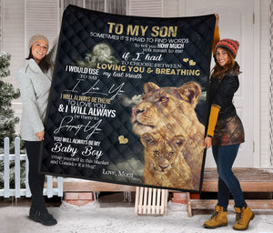 To My Son from Mom lion Fleece Blanket
