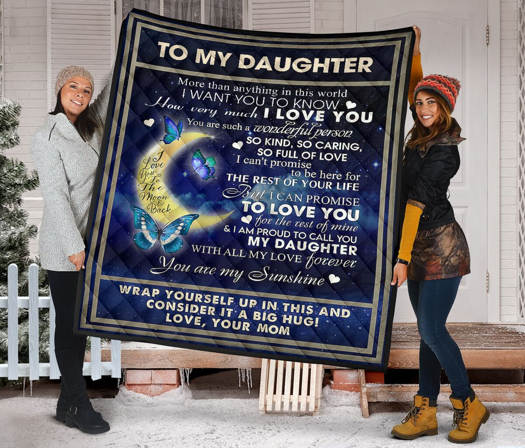 To My Daughter from Mom Butterfly Fleece Blanket