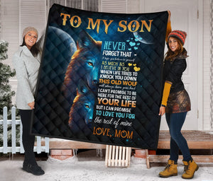 To My Son from Mom Wolf Fleece Blanket