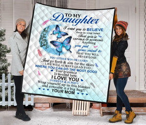 To My Daughter from Mom Love you to the Moon Fleece Blanket