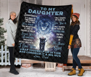 To My daughter From Dad Lion Fleece Blanket