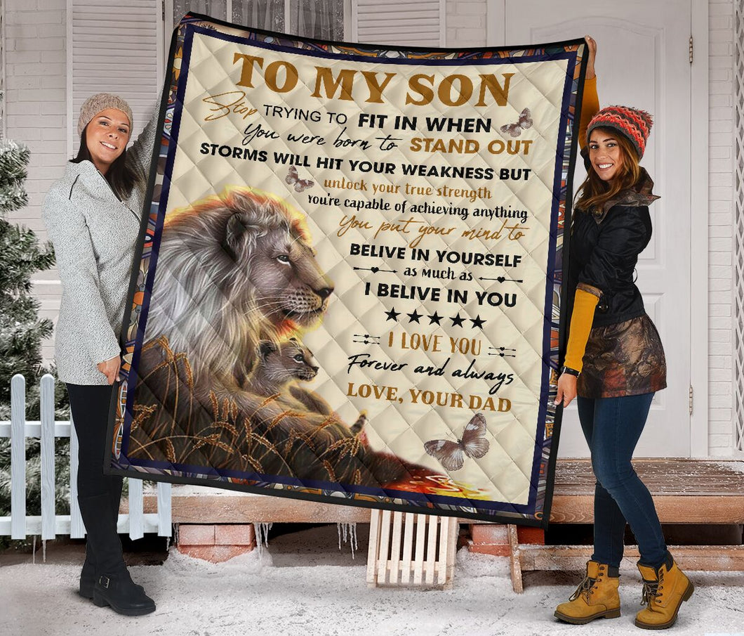To My Son From Dad Lion Fleece Blanket