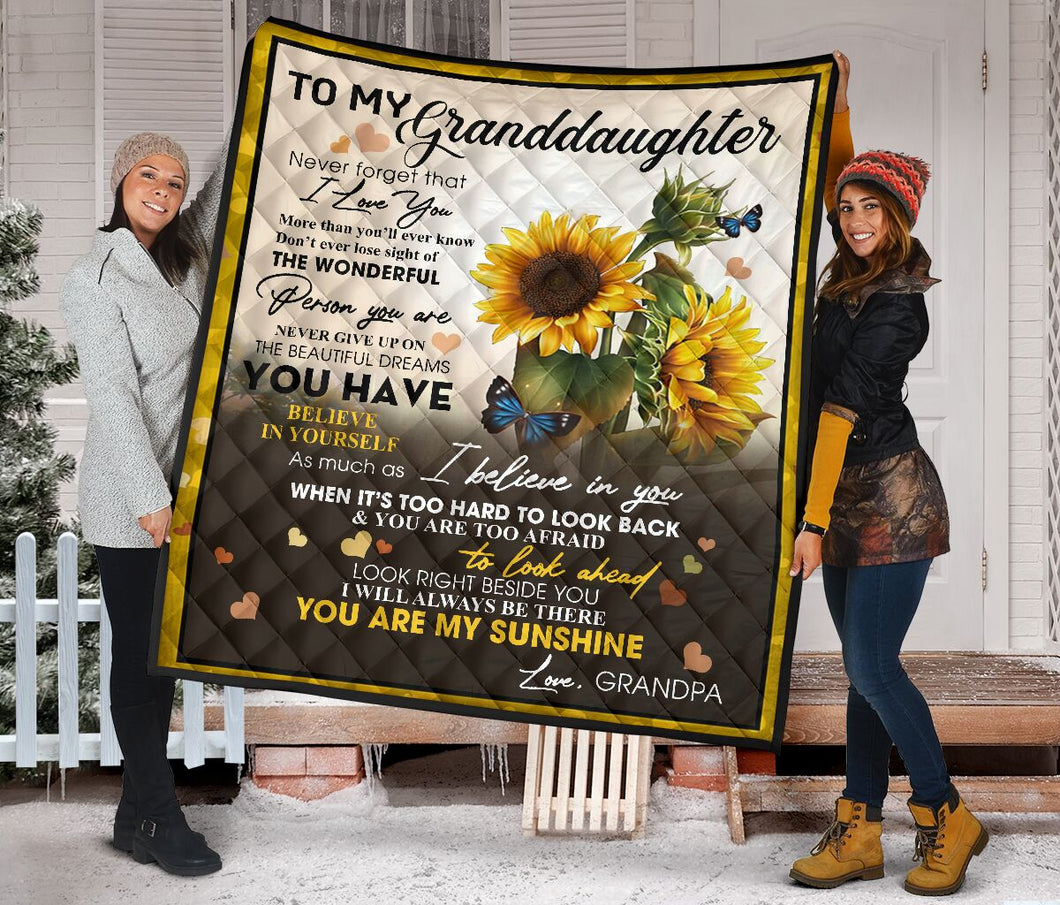 To My Granddaughter from Grandpa Sunflower Fleece Blanket