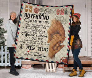 To My Boyfriend Envelope Fleece Blanket
