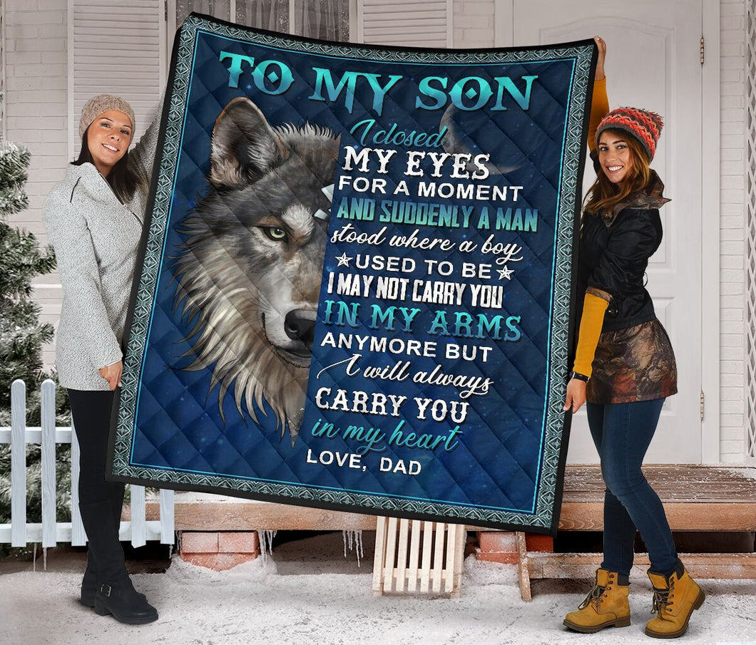 To My Son From Dad Wolf Fleece Blanket