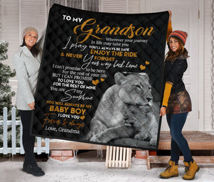 To My Grandson from Grandma Lioness Fleece Blanket