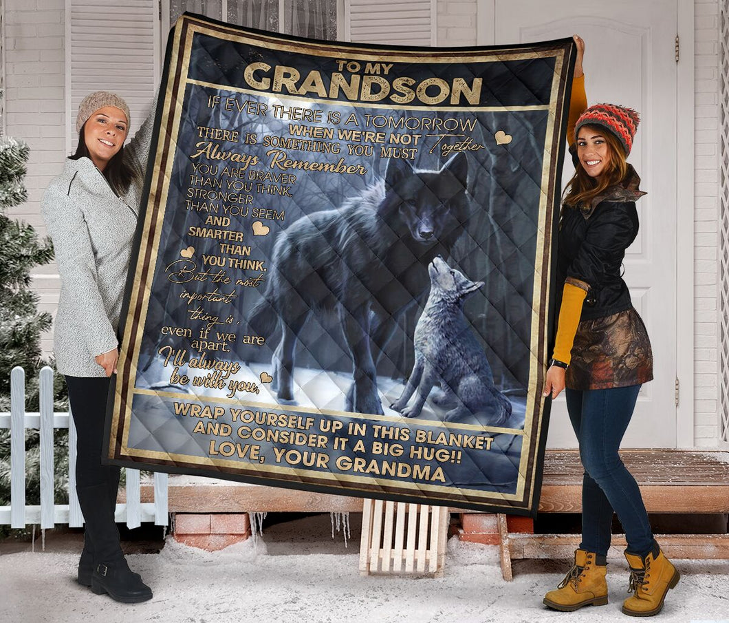 To My Grandson from Grandma Wolf Fleece Blanket