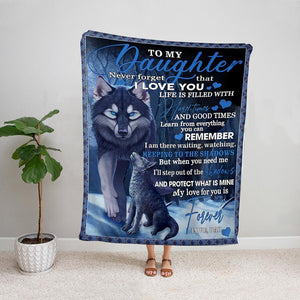 Wolf dad to my daughter my love for you is forever night Fleece Blanket