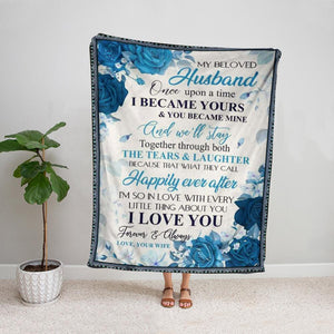Blue roses wife to my beloved husband i'm so in love with every little thing about you Fleece Blanket