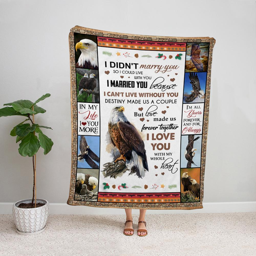 Eagle i can't live without you i love you with my whole heart candy cane christmas winter Fleece Blanket