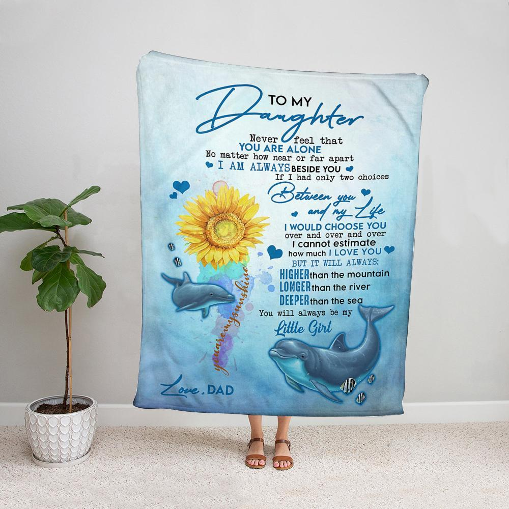 Dolphin sunflower dad to my daughter never feel that you are alone ocean Fleece Blanket