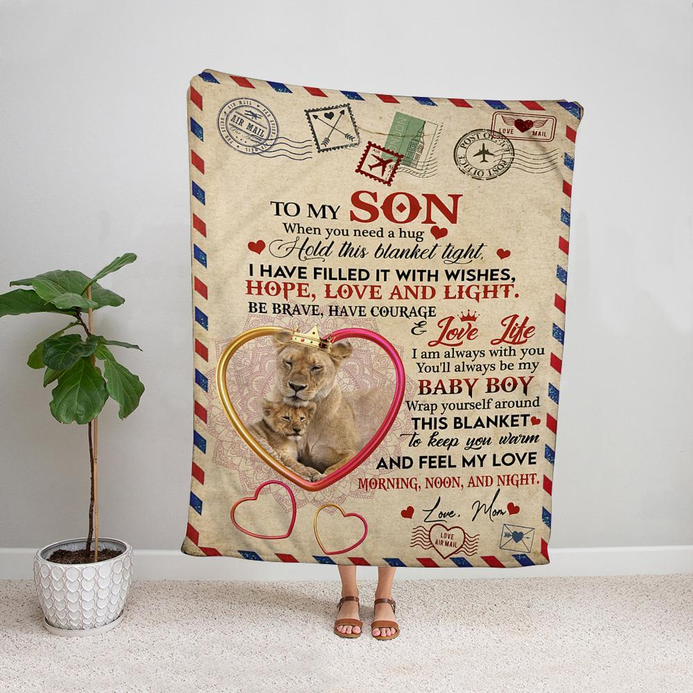 Air mail lion mom to my son i am always with you keep your warm Fleece Blanket Small Medium Large X-large