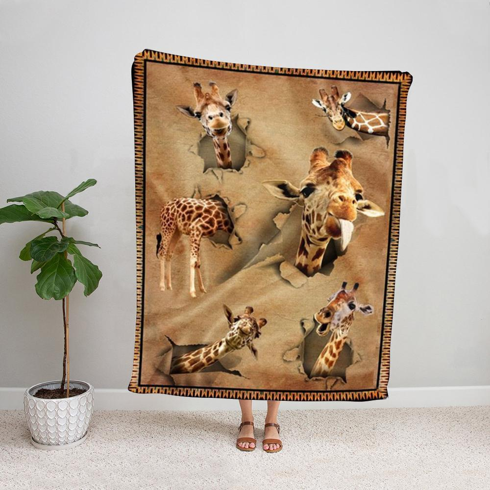 Giraffe love animal loved funny giraffe Fleece Blanket