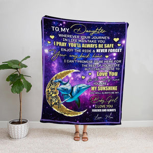 Dolphin mom to my daughter you are my sunshine the moon Fleece Blanket