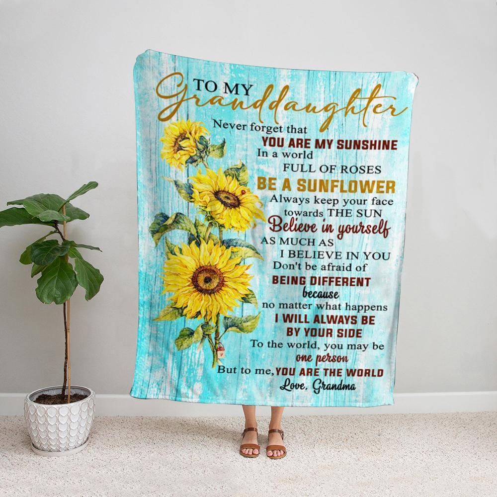 Sunflower grandma to my granddaughter never forget that you are my sunshine Fleece Blanket