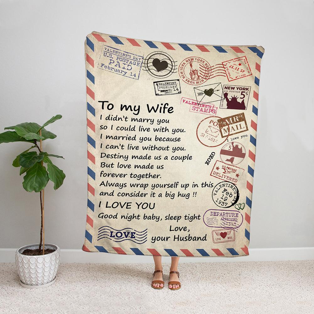 Airmail husband to my wife love make us forever together sleep tight love mail Fleece Blanket