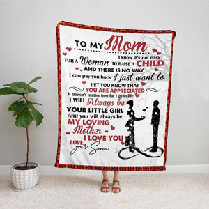 Family son to my mom you will always be my loving mother Fleece Blanket