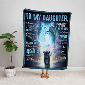 Black lion mom to my daughter i will always be there to support you be my baby girl Fleece Blanket