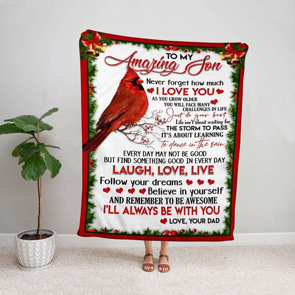 Cardinal dad to my amazing son follow your dreams believe in yourself happy christmas Fleece Blanket