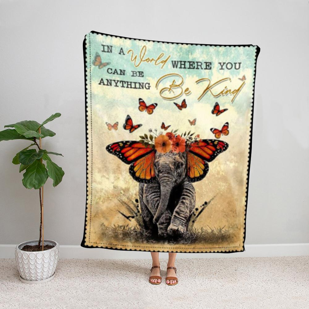 Elephant butterfly can be anything be kind Fleece Blanket