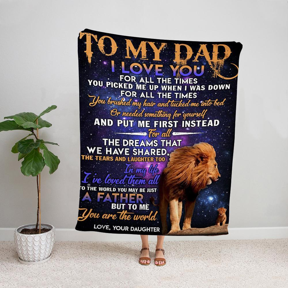 Lion daughter to my dad a father but to me you are the world night Fleece Blanket