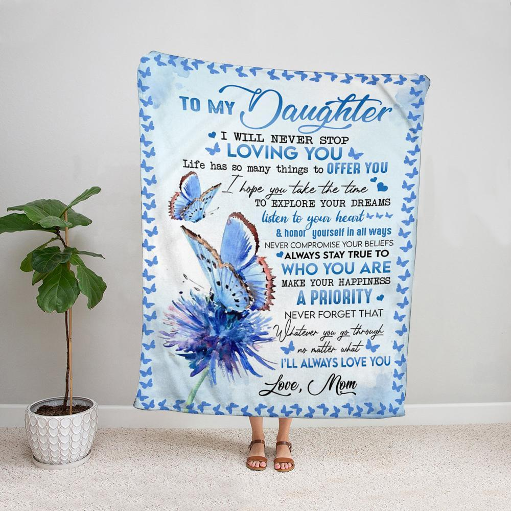 Butterfly & flower mom to my daughter i will never stop loving you Fleece Blanket
