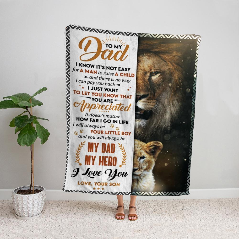 Lion son to my dad my hero I love you Fleece Blanket