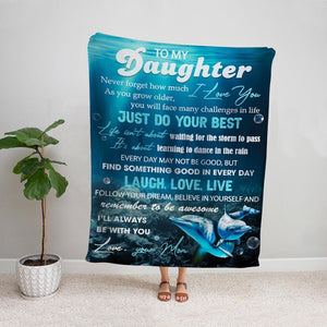 Dolphin mom to my daughter just do your best gift for daughter Fleece Blanket