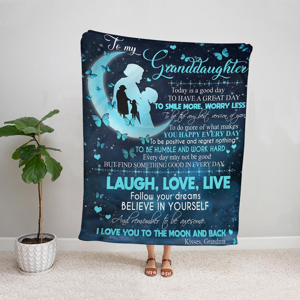 Grandma to my granddaughter today is a good day to have a great day butterfly moon Fleece Blanket