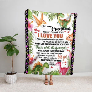 Dinosaur grandma to my grandson i can promise to love you for the rest of mine Fleece Blanket