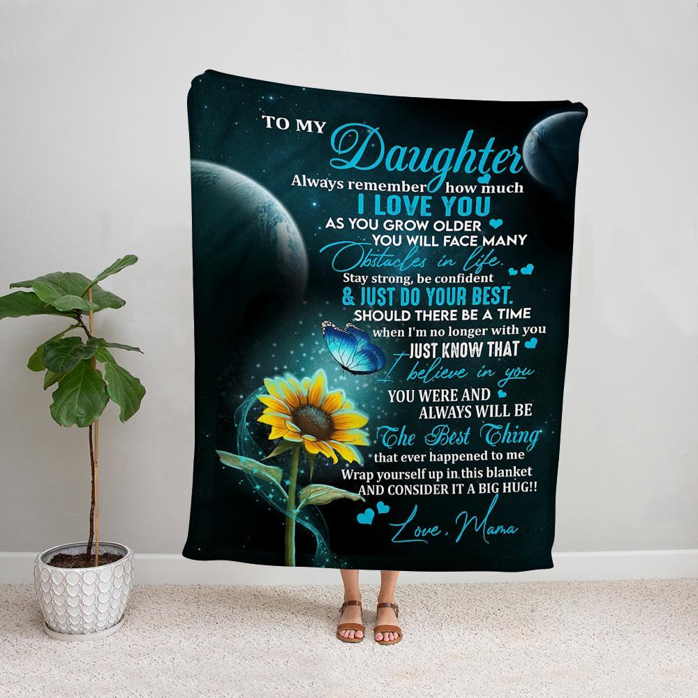 Sunflowers & butterfly mama to my daughter just do your best i believe in you Fleece Blanket
