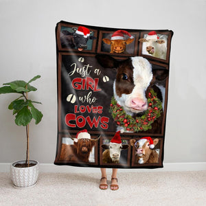 Cow just a girl who love cows merry christmas gift Fleece Blanket