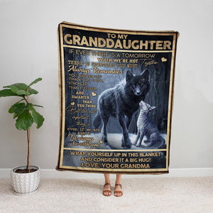 Wolf grandma to my grandaughter most important thing is even if we are a part i'll always be with you night Fleece Blanket