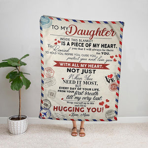 Air mail from mom to my daughter wrap yourself in this and I'll be hugging you family love soft Fleece Blanket Small Medium Large X-large