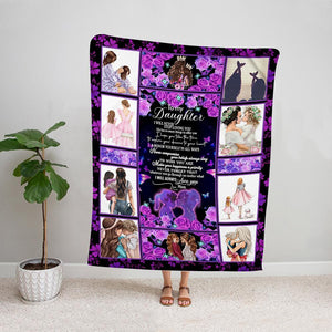 Family mom to my daughter i will never stop loving you purple Fleece Blanket