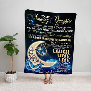Butterfly mother in law to my daughter in law you will always be my baby girl blue night Fleece Blanket