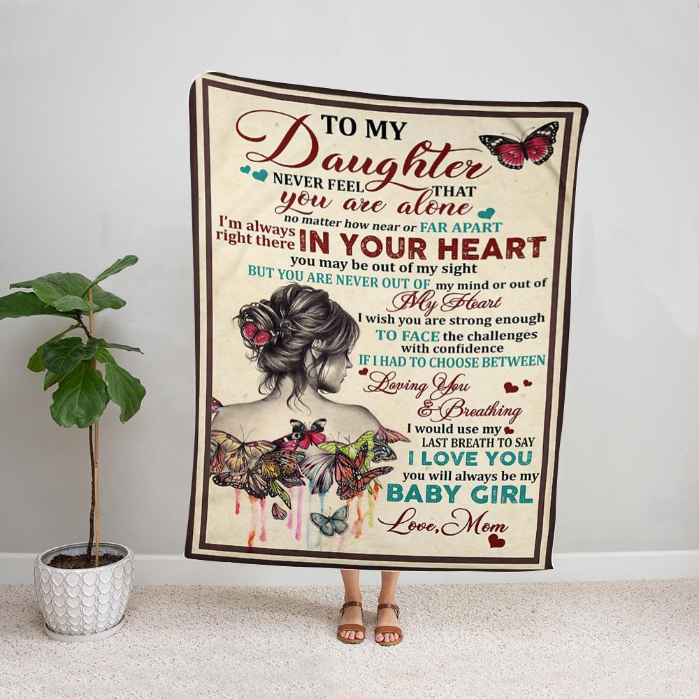 Butterfly mom to my daughter i wish you are strong enough to face the challenges with confidence loving you Fleece Blanket