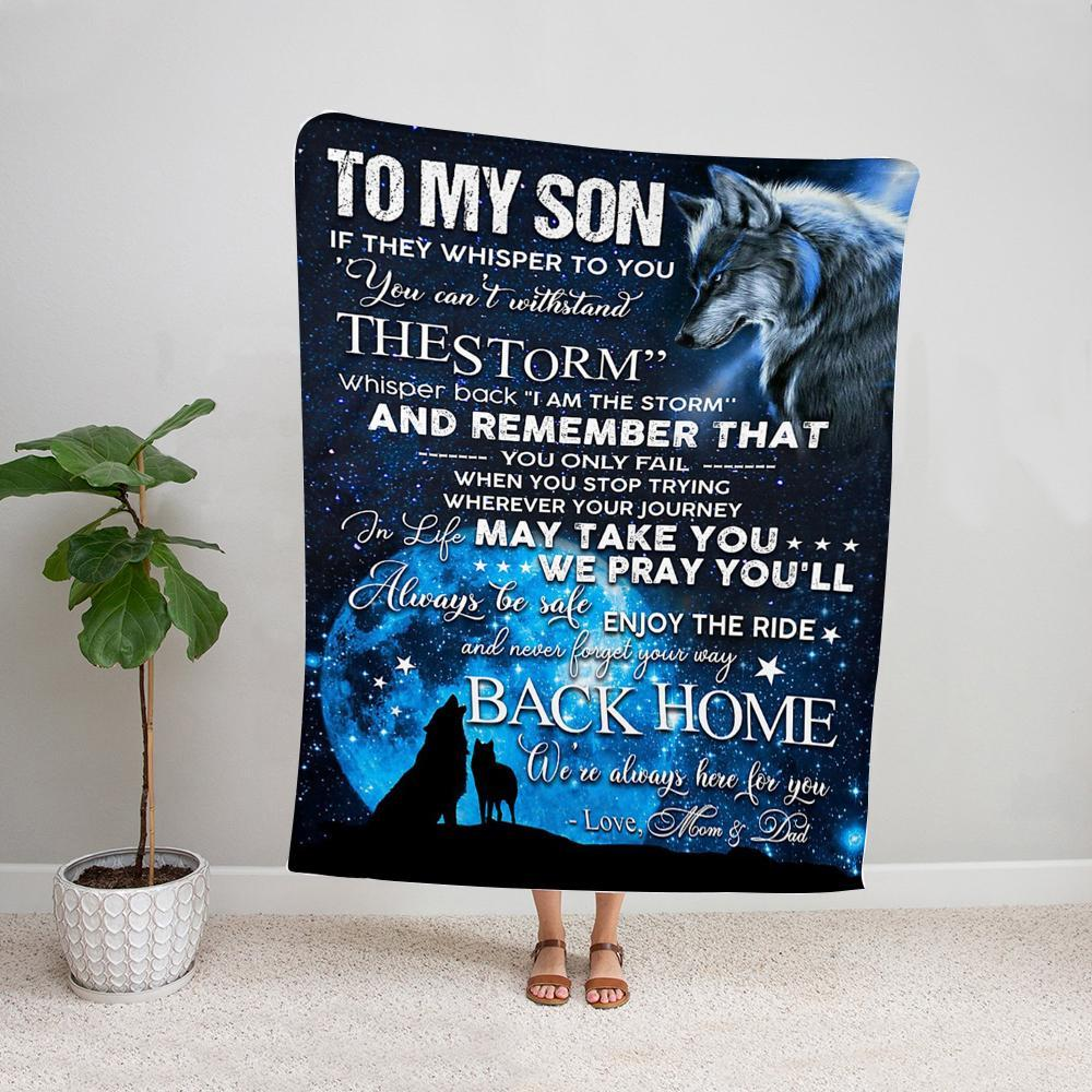 Wolf mom & dad to my son in life may take you we pray you'll always be safe Fleece Blanket