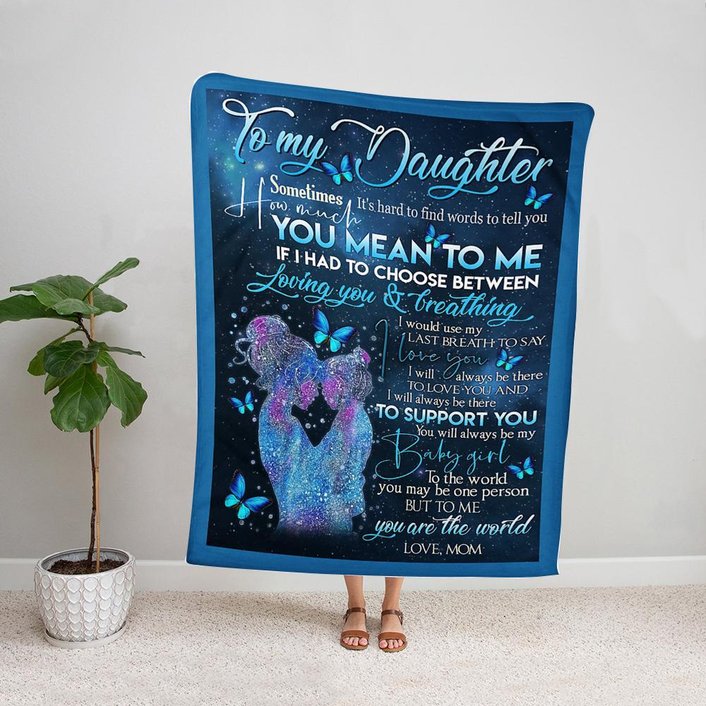 Butterfly mom to my daughter i will be there to love you and support you mom hug daughter love you Fleece Blanket