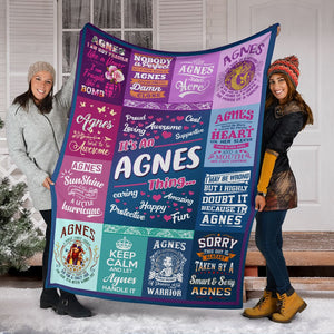Personalized Name, Agnes Fleece Blanket Small Medium Large X-large