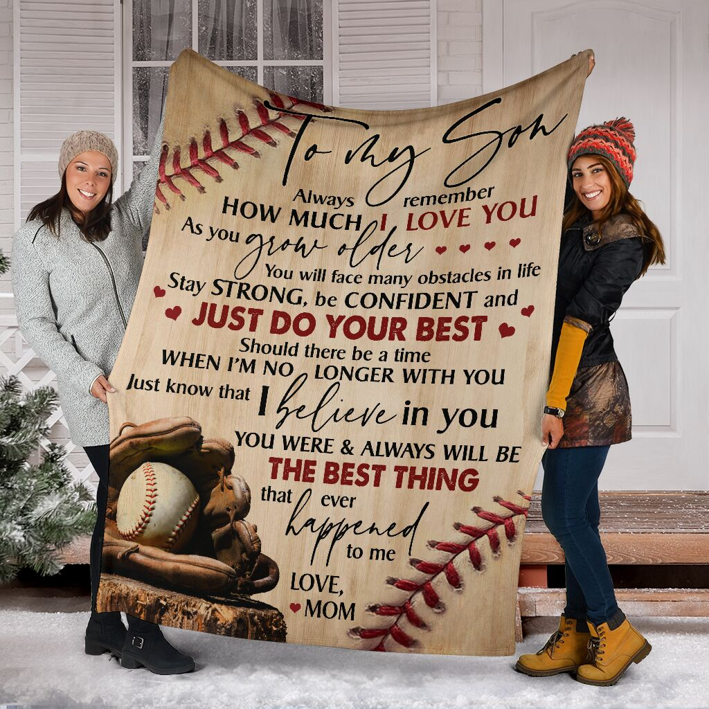Best Gift To My Son (Baseball) Fleece Blanket