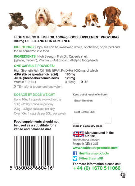 Omega 3 Fish Oil for Dogs 1000mg 90 Capsules  (Buy 1 Get 1 FREE)